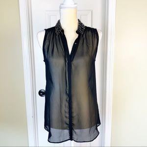 Zara Black Beaded Sheer Sleeveless Blouse Size S